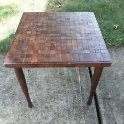 Vintage Mid Century Modern Brutalist Wood Cube Side Accent End Table retro deco  $119.00