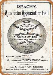 7x10 Metal Sign - 1890 Reachs Base Ball Guide - Rusty Look $18.95