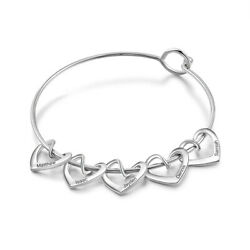 Personalized Heart Charms Bracelet Womens Bangle 8'' Engrave Names Jewelry Gift $8.99