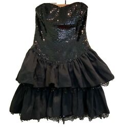 BETSEY JOHNSON Black Sequin Sparkly Short Cocktail Party Dress US Size 8 $39.99