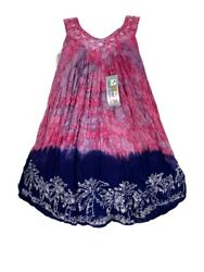 Tie Dye Summer Top India Boutique Rayon Pink Blue Palm Tree Sleeveless Boho M $14.99