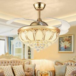 42quot; Gold Crystal LED Chandelier Light Invisible Ceiling Fan Lighting Lamp Remote $139.08