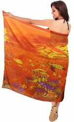 LA LEELA Sheer Chiffon Bathing Women Wrap Sarong Printed 72quot;X42quot; Orange 983 $13.98