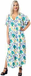 LA LEELA Women#x27;s Beach Maxi Dress Caftan Bikini Cover Ups US 14 18W Blue X786 $19.99