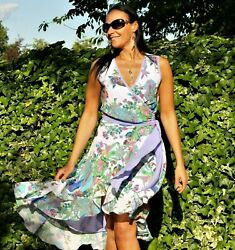 Wrap over summer floral dress Design frill Unique cut Size 12 Brand new $118.85