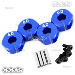 12mm Blue Wheel Hex Drive Adaptor Thickness 6mm With Pins Screws 1/10 RC Car $3.40