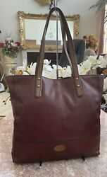 Fossil Large Pebble Brown Leather Tote Shopper EUC! MSRP $198