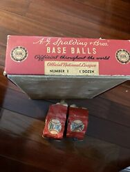 Spalding Baseball Box 1940s Holds 12 Balls Official National League With 2 Bags $75.00