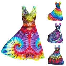Women Tie Dye Sundress Knot Holiday Beach Summer Swing Long Maxi Dress Plus Size $19.56