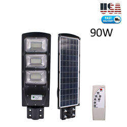 Outdoor Commercial 90W LED Solar Street Light IP65 Dusk to Dawn PIR Sensor Lamp