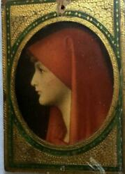 Vintage Figure on Wood~Red Cloak~ Gilded Edge~Made in Italy~ 4