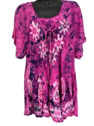 Tie Dye Summer Top India Boutique Rayon Pink Purple Short Sleeves Boho L $14.99