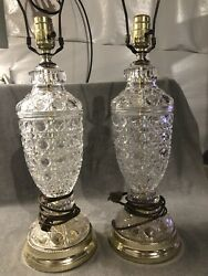 "Awesome 2 Vintage Cut crystal lamps. 26"" Total Height. No Shades. Great Shape $38.00"