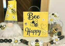 BEE HAPPY MINI SIGN TIERED TRAY FARMHOUSE BUFFALO PLAID FLOWER RUSTIC DECOR $8.25