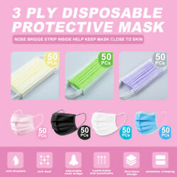 50PCs 3 PLY Layer Disposable Face Mask Dust Filter Safety Pink White Blue Black $6.49