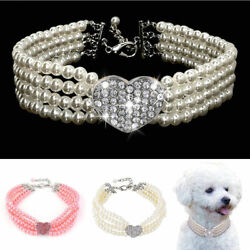 Dog Bling Rhinestone Collar Pet Diamante Pearl Necklace Puppy Crystal Jewelry $4.98