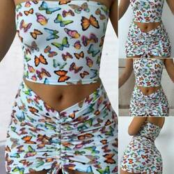 2 PCS Set Women Wrapped Chest Tube Top+Short Skirt Butterfly Printed Summer Fast $12.27