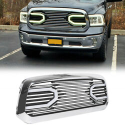 Front Big Horn Chrome Grille Grill + Shell & Light For 2013-2018 Dodge Ram 1500