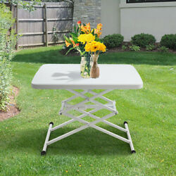 4-Height Portable Folding Table Adjustable Lift Table Desk Indoor Outdoor Use $41.99