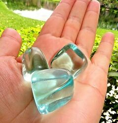 3 Medium Blue Aqua Obsidian Tumbled Stone ProtectionReiki Crystal $13.99