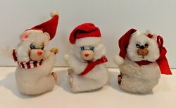 Vintage Bear Hugger Clinger Clip On Christmas Holiday Retro Lot Of 3 $34.99