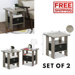Set of 2 Bedside Tables Small Bedroom Spaces Side End Table Nightstand Wooden $159.98