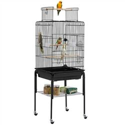 53.5quot; Play Open Top Parakeet Bird Cage for Parrot with Detachable Rolling Stand $64.99