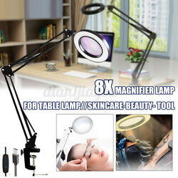 8X Magnifier Glass Lamp Table Desk Clamp LED USB 3 Color Read Soldering Loupe US $37.38