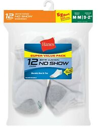 Hanes Boys Socks Athletic No Show Cushion Medium 9 2 1 2 White 12 PAIR $7.50