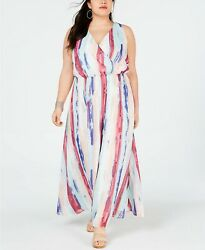 INC Womens PLUS Size Printed Paint Splatter Surplice Summer Maxi Dress Size 1X $19.99