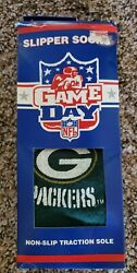 NEW NFL Game Day Green Bay Packers Slipper Socks Adult Size 9 13 VTG Grippers $16.00