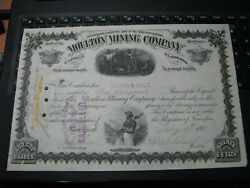 1887 MOULTON MINING STOCK CERTIFICATE SIGNED BY W.A. CLARK William Las Vegas $79.48