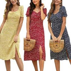 Women V-neck Short Sleeve Summer Midi Dress Casual Beach Holiday Floral Sundress $16.99