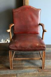 Antique Bankers Chair Office Desk Chair Oxblood Leather nailhead trim wood legs $350.00