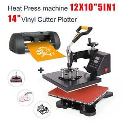 5in1 Heat Press 12x10 14 Vinyl Cutter Plotter Business Printer Sublimation $376.49