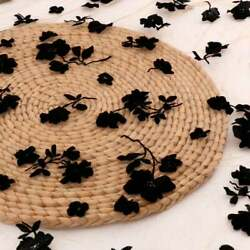 Black Tulle Lace Embroidery Flocking Flower Dress Fabric By The Yard Fashion DIY $10.99