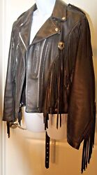 Schott Black Leather Fringe Biker Motorcycle Jacket! Great Condition! Size 12