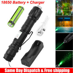 Green Laser Pointer High Power Visible Beam Star Cap 18650 Battery Charger $9.59