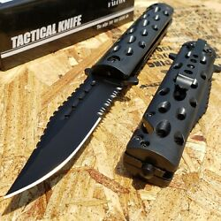 8.5quot; Tactical Folding Pocket Knife Spring Assisted Open Serrated Blade Rescue $11.49