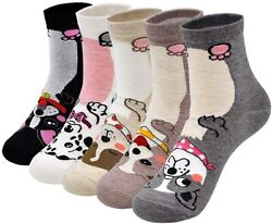 5 Pairs of Novelty Socks for Women with Dogs Puppy Animal Cotton Crew Cut Gift GBP 16.95