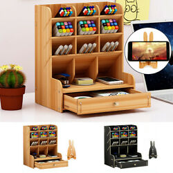 Top Desk Organizer DIY Wooden Pen Holder Box Storage Rack w Phone Holder Drawer $14.90