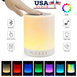 Night Lights Bluetooth Speaker Touch Sensor LED Table Lamp Dimmable RGB USA $17.95