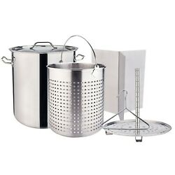 Outdoor Large Stainless Steel Carwfish Seafood Boiling Pot Stock Pot w Basket $129.99