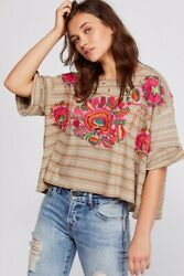 NWT Free People Boxy Cropped Embroidered Tee Boho Size XS MSRP $128 $37.00