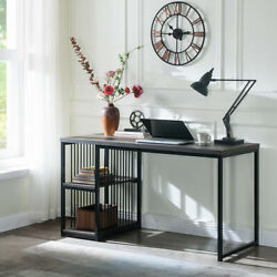 Home Office Computer Desk in Brown 55 Inch Writing Desk with 2 Storage Shelves  $172.99