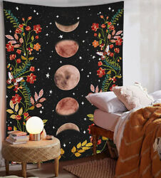 Psychedelic Moon Starry Tapestry Flower Wall Hanging Room Sky Carpet Tapestries $14.61
