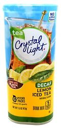 CRYSTAL LIGHT LEMON ICED TEA DECAF Powdered DRINK MIX 6 Pitcher Packs x 2 Cans $14.20