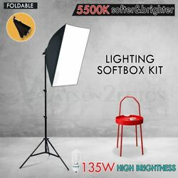 135W Soft Box Light Kit Photography Studio Continuous Softbox Lighting Stand Set $36.98