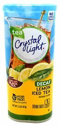 CRYSTAL LIGHT LEMON ICED TEA DECAF Powdered DRINK MIX 6 Pitcher Packs x 1 Can $9.77