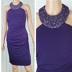 Cache beaded halter ruched purple party cocktail dress Size 4 NWT retail 168 $35.96